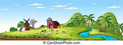 állat, istálló, évad, piros, tanya, táj, nyár