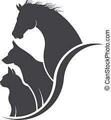 állat, kutya, ló, macska, szerető, ábra