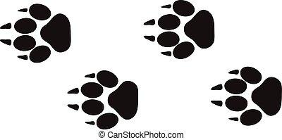 állat, lépések, vector., sín, lábfej, tervezés, elszigetelt, kicsapongó élet, fehér, átvezet, nyomtatványok, fogalom