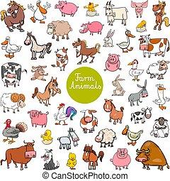 állat, nagy, karikatúra, állhatatos, tanya, betűk