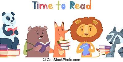 állat, panda, vad, előjegyez, transzparens, oroszlán, felolvasás, olvas, vektor, hord, animals., róka