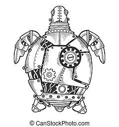 állat, tengeri teknős, vektor, metszés, mechanikai
