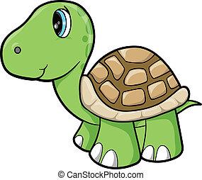állat, vektor, tengeri teknős, csinos