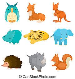 állatkert, karikatúra, állat icons