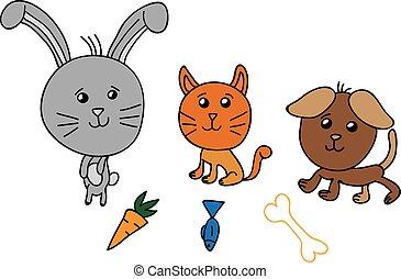 állatok, ábra, csinos, vektor, csoport