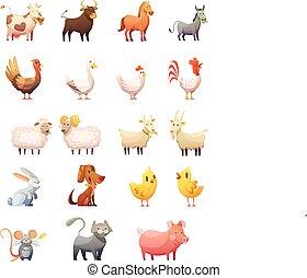 állatok, állhatatos, tanya, karikatúra