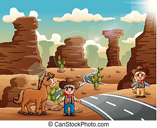 állatok, cowboy, cowgirl, dezertál, karikatúra, út