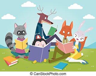 állatok, előjegyez, felolvasás, csinos