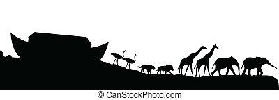 állatok, elszigetelt, vektor, fehér, noeh's, bárka
