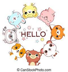 állatok, kíváncsi, furcsa, keret, csinos