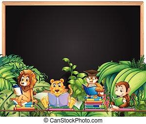 állatok, keret, könyv, tervezés, vad, felolvasás