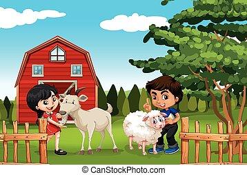 állatok, leány, tanya, fiú