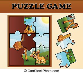 állatok, rejtvény, lombfűrész, játék, vad, boldog
