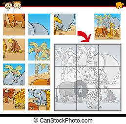 állatok, rejtvény, lombfűrész, játék, vad, karikatúra