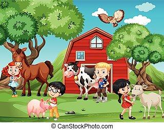 állatok, tanya, gyerekek