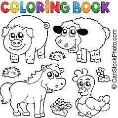 állatok, tanya, könyv, színezés