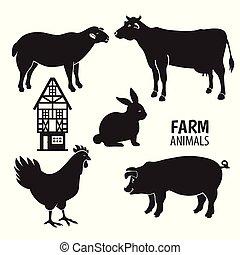 állatok, tanya, silhouettes., elszigetelt, háttér., fehér