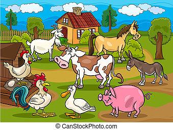 állatok, tanya, színhely, ábra, vidéki, karikatúra