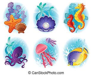 állatok, tenger, ikonok