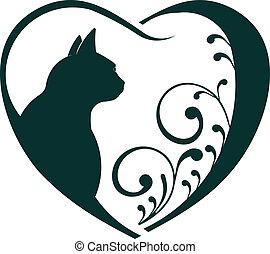állatorvos, szív, macska, love.