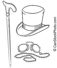 állhatatos, ábra, cvikker, elszigetelt, mutat, segédszervek, walkingstick, vektor, retro, háttér, white kalap