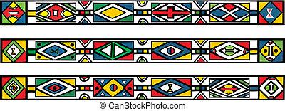 állhatatos, -, ábra, hagyományos, példa, vektor, afrikai, ndebele