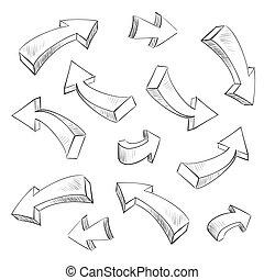 állhatatos, ábra, sketchy, vektor, tervezés, nyíl, alapismeretek, 3