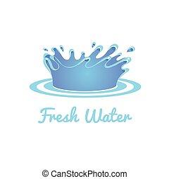 állhatatos, ábra, víz, vektor, splash., friss