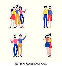 állhatatos, ábra, vektor, különféle, alakzat, barátok, hugging., legjobb