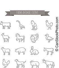 állhatatos, állatok, ikonok, tanya, vektor, sovány megtölt