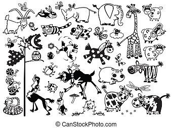 állhatatos, állatok, karikatúra