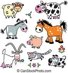 állhatatos, állatok, karikatúra, tanya