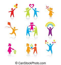 állhatatos, árnykép, emberek, kölyök, ember, ikonok, -, jelkép., fiú, nő, leány, szülők, atya, vector., family., anya, gyermek
