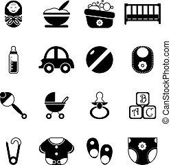 állhatatos, árnykép, ikonok, elszigetelt, ábra, jelkép, vektor, csecsemő, gyermekkor