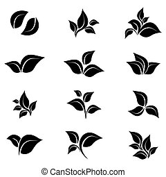 állhatatos, árnykép, ikonok, zöld, elszigetelt, háttér., vector., fehér