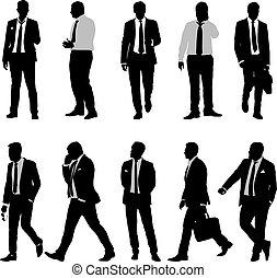 állhatatos, árnykép, illeszt, háttér, csomó, üzletember, fehér, ember