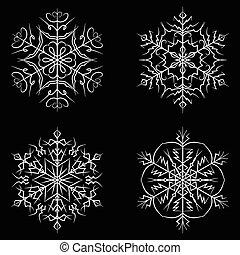 állhatatos, árnykép, jelkép, vektor, ikon, hópehely, design.