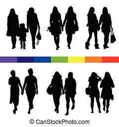 állhatatos, árnykép, párosít, ábra, fekete, leszbikus