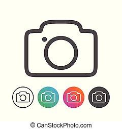 állhatatos, áttekintés, egyszerű, jelkép, fényképezőgép, tervezés, ikon