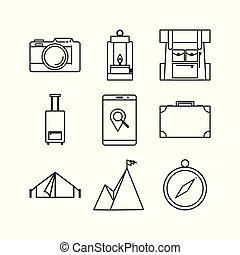 állhatatos, áttekintés, egyszerű, utazás, tervezés, híg, ikon, jelkép, kaland