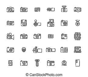 állhatatos, áttekintés, fényképezőgép, ikon, illustration.