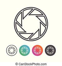 állhatatos, áttekintés, jelkép, redőny, fényképezőgép, tervezés, ikon