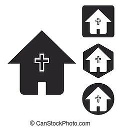 állhatatos, épület icon, keresztény, monochrom