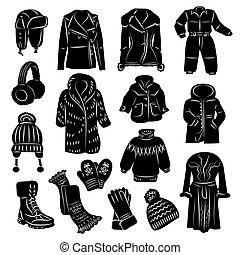állhatatos, öltözet, tél, ikonok