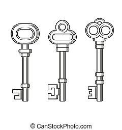 állhatatos, öreg, kulcsok, szüret, háttér., vektor, fehér