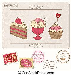 állhatatos, öreg, levelezőlap, -, topog, cupcakes, tervezés, scrapbooking