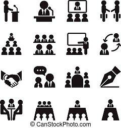 állhatatos, ügy icons, ábra, szeminárium, felépülés, vektor, interjú, tanácskozás, képzés, gyűlés
