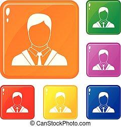 állhatatos, ügy icons, szín, vektor, illeszt, ember