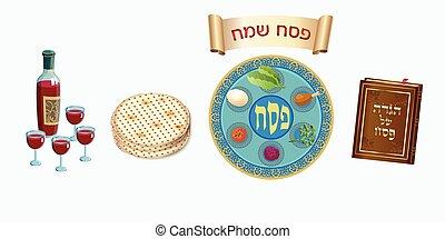állhatatos, ünnep, ikonok, boldog, tányér, pesach, szüret, zsidó húsvét, zsidó, seder