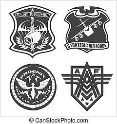 állhatatos, airforce erőfeszítés, elnevezés, -, folt, erőltet, hadi, jel, fegyveres, jelvény